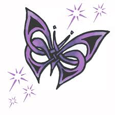 purple sparkling butterfly tribal design tattoomagz