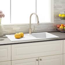 Allardt DropIn Granite Composite Sink With Drainboard White - White composite kitchen sinks