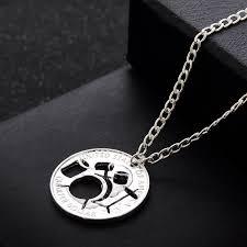 necklace pendant wholesale images Best friend music shelf drum charm alloy necklace hand cut coin jpg