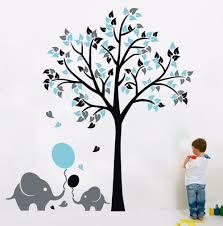 Tree Wall Art Decals Vinyl Sticker L46 Elephant Balloon Tree Wall Sticker Vinyl Decal Kids Nursery