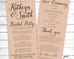 wedding program card stock marriage program etsy