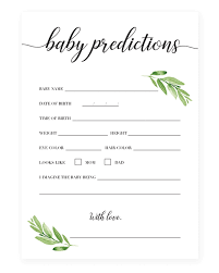 printable baby predictions cards diy baby shower games