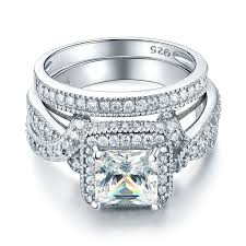 bridal sets rings princess cut cz diamond engagement ring set vintage style bridal set