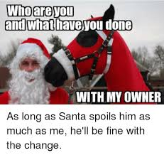 What Have You Done Meme - who you and what have you done with my owner as long as santa spoils
