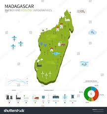 Map Of Madagascar Energy Industry Ecology Madagascar Vector Map Stock Vector