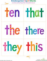 kindergarten sight words ten to this worksheet education com