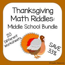 thanksgiving math riddles middle school bundle by snyder classroom