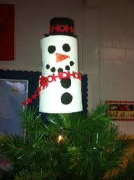 snowman tree topper made with two full toilet paper rolls body