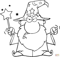 wizard frog with a magic wand in mouth coloring page free