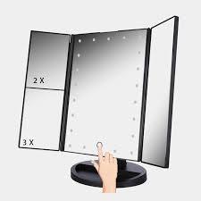 vanity led light mirror 3 folding touch screen makeup led light mirror vanity mirror with