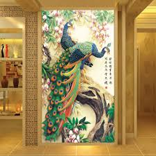 online get cheap 3d wall murals wallpaper flowers aliexpress com custom printed wallpaper peacock living room entrance hallway backdrop home decoration wall art 3d wall mural