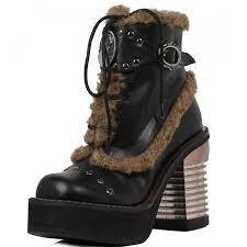 black cameo accented gothic ankle boot steampunk shoes