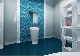 blue and bathroom white toilet on the black ceramic tile floor