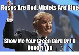 Green Card Meme - roses are red violets are blue show me your green card or i ll