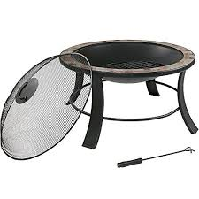 slate fire pit table sunnydaze 30 inch natural slate fire pit table with spark screen