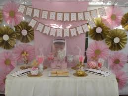 pink and gold baptism buffet dimple designs