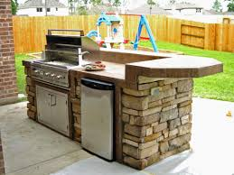 outdoor kitchen idea small size raised rounded social bar