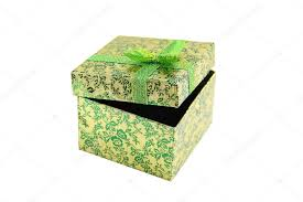metallic gift box open green metallic gift box with ribbon bow present