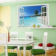 sea home decor large removable beach sea 3d window decal wall sticker home decor