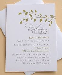 memorial announcement wording celebration of invitation with green leaves personalized