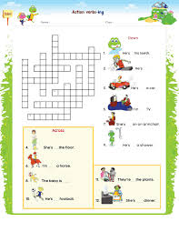 action verbs crossword kididu
