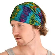 hairband men casualbox tie dye hippie headband elastic bandana cover