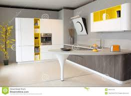 cuisine moderne blanche et modern kitchen white and yellow coloured stock photo image of
