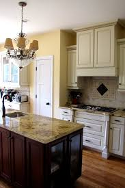 Kitchen Ideas With Cream Cabinets Kitchen Lapidus Granite Travertine Tile Cream Cabinets With