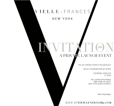 vielle frances new york store grand opening event invitation
