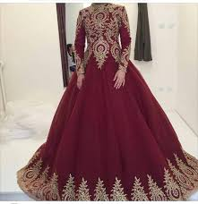 wedding dress maroon gold lace appliques burgundy wedding gowns dresses for arabic