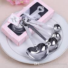 tea party bridal shower favors wedding return gifts metal heart shaped measuring spoons for