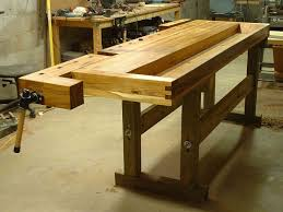 furniture industrial craftsman workbench with oak wood material
