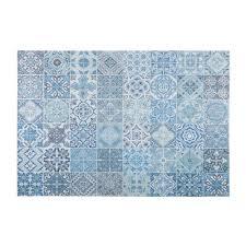 tissu bord de mer tapis en tissu motifs carreaux de ciment bleus 155x230cm capri