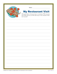 my restaurant visit 1st and 2nd grade writing prompt worksheet