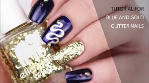 blue and gold glitter nails youtube