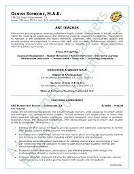 Professor Resume Objective Art Teacher Resume Sample Page 1