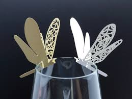 100 laser cut dragonfly table name cards for wedding party glass