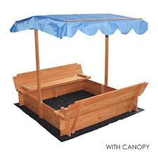 Small Canopy by Wooden Sandbox With Two Bench Seats Cover And Optional Canopy