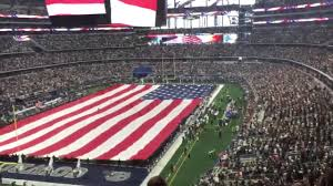 Dallas Cowboys Flags Dallas Cowboys Stadium National Anthem With Giant American Flag