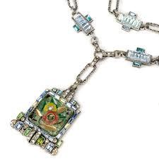 art glass necklace pendant images Art deco tropical carved glass necklace statement necklaces jpg