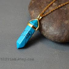 turquoise crystal pendant necklace images Blue sand stone triangle gemstone pendant from earthprism on etsy jpg