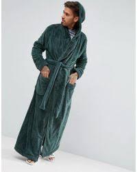 asos hooded dressing gown in fleece in pink for men lyst