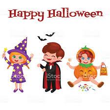happy halloween set of cute cartoon children in colorful halloween