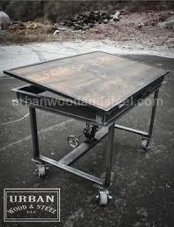 Steel Drafting Table Adjustable Industrial Drafting Table Wood Steel Llc
