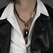 swarovski crystal necklace leather images Leather and chain necklace with black swarovski crystal nc 1014 jpg