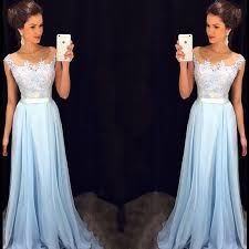 light blue prom dress with floral lace applique cap sleeve