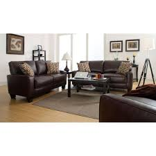 Brown Bonded Leather Sofa Serta Rta Monaco Biscuit Brown Espresso Faux Leather Sofa Cr43533p