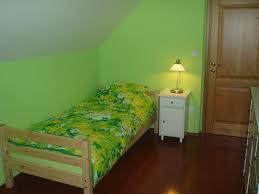 nice modern design of the cute lime green room that has wooden