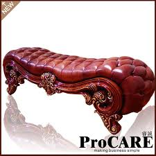 luxury bedroom benches european style wooden carved bed tail leather leather shoes stool