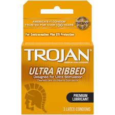 trojan ultra ribbed lubricated latex condoms 3 ct walmart com